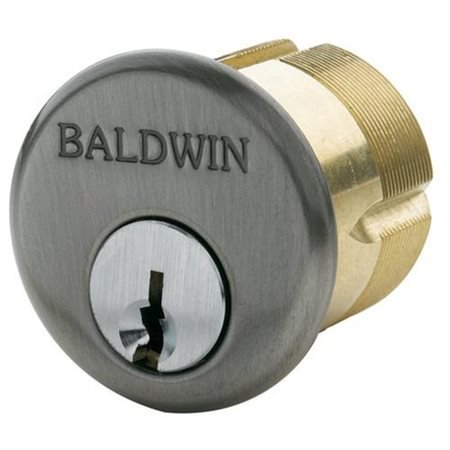 "Baldwin 8324151 1-3/8"" Mortise Cylinder Antique Nickel Finish"