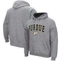 Purdue Boilermakers Colosseum Arch & Logo Tackle Twill Pullover Hoodie - Heathered Gray