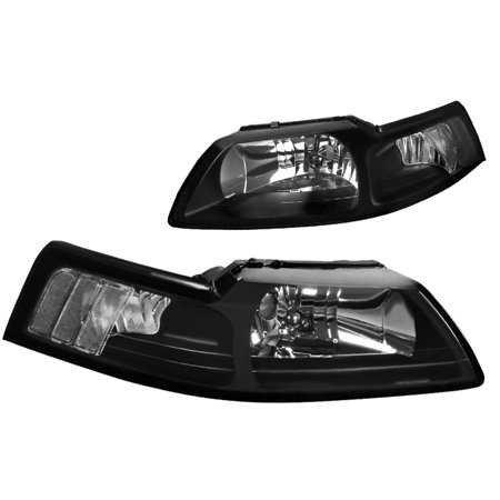 - Spec-D Tuning 1999-2004 Ford Mustang Head Lights Corner Lamps Black W/ Clear Reflector 99 00 01 02 03 04 (Left + Right)