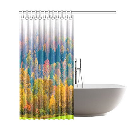GCKG Fall Foliage Shower Curtain, Field of Trees Polyester Fabric Shower Curtain Bathroom Sets with Hooks 66x72 Inches - image 1 of 3
