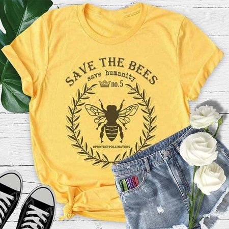Plus Size Bebe (Plus Size Bee Print Women Casual Short Sleeved)