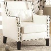 A Line Furniture Harvard Madrid Design Decorative Cream/ White Wing Accent Chair with Nail Head Trim