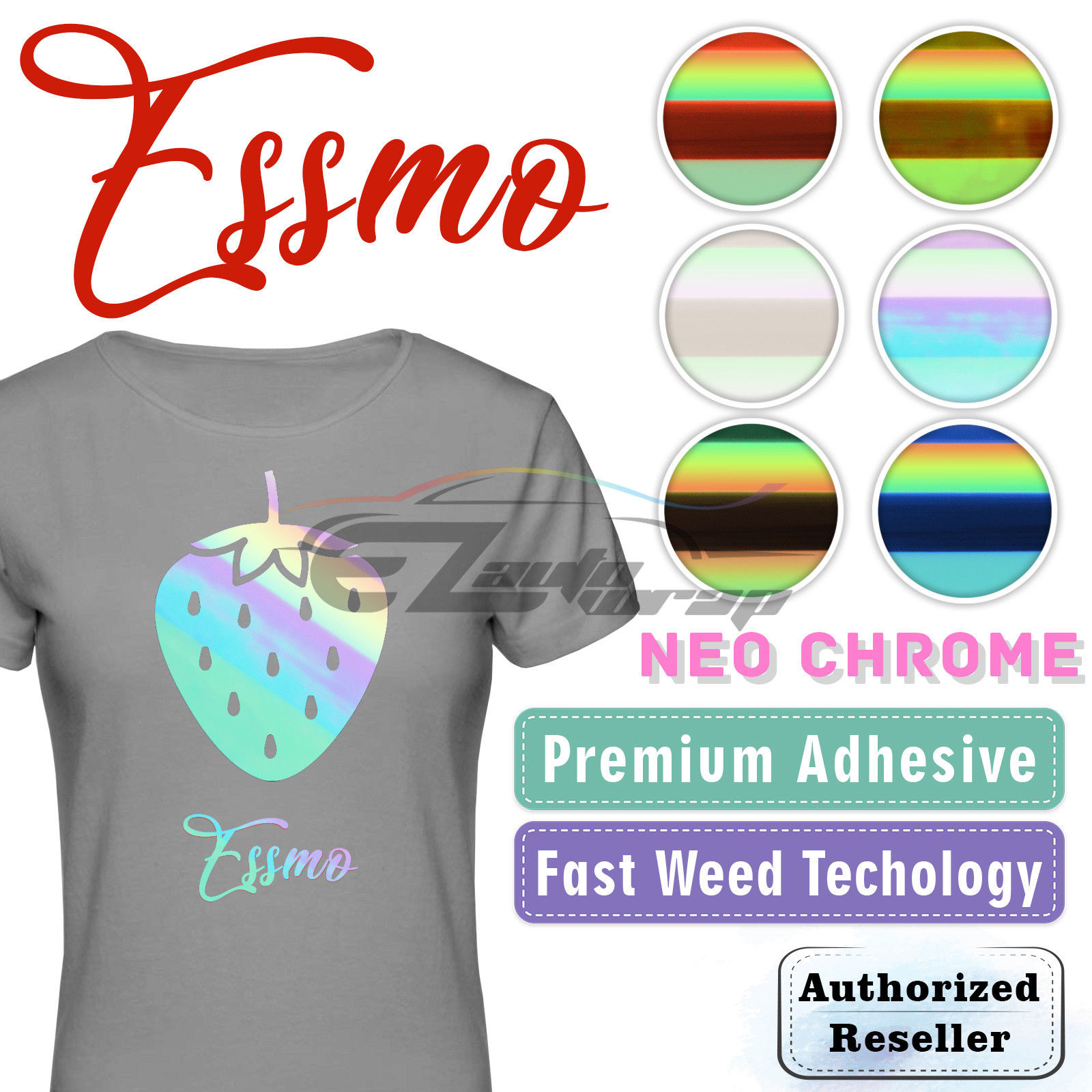 "ESSMO™ Neo Chrome Blue Heat Transfer Vinyl HTV T-Shirt 20"" Wide Roll Iron Heat Press 20""x12"""