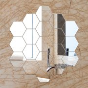 12Pcs DIY Wall Sticker Hexagonal 3D Mirror Self Adhesive Plastic Mirror Tiles for Home Decor Silver