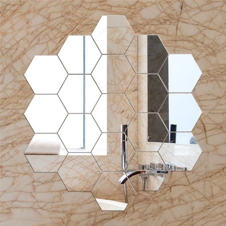12Pcs DIY Wall Sticker Hexagonal 3D Mirror Self Adhesive Plastic Mirror Tiles for Home Decor (Adhesive Tile Stickers)