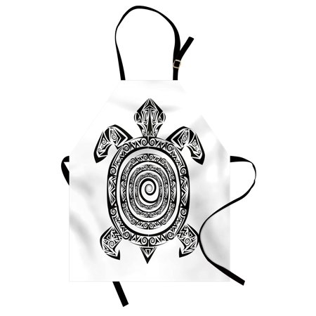 Turtle Apron Maori Tattoo Style Figure of Sea Animal Tribal Spiral Form Ancient Tropical, Unisex Kitchen Bib Apron with Adjustable Neck for Cooking Baking Gardening, Black and White, by Ambesonne - Sea Tattoo