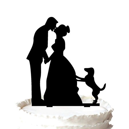 HILBOTT Wedding Cake Topper with Little Dog, Bride and Groom Silhouette, Cake Decoration Wedding Anniversary Cake Topper couple with 2 kids (Boy and Girl (Black) (Little Kid Couple)