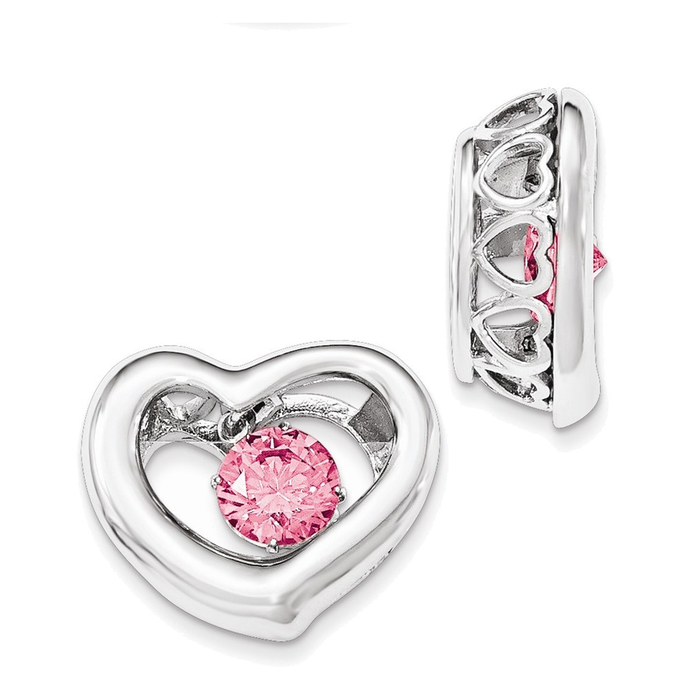 Sterling Silver Platinum-plate Swar Zirconian Vibrant Pink Cubic Zirconia Heart Pendant by
