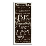 Stupell Industries Bathroom Rules Chocolate White, 13 x 30,Design by Taylor Greene