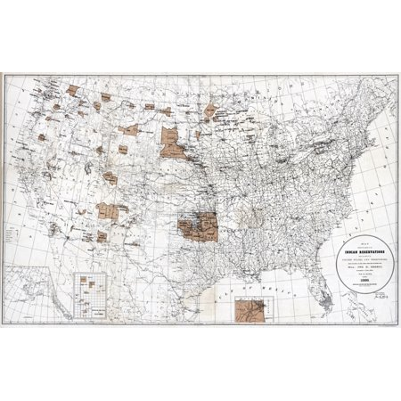 Map Reservations 1888 Nmap Showing The Location Of The Indian Reservations Within The Limits Of The United States And Territories Lithograph 1888 Rolled Canvas Art     24 X 36