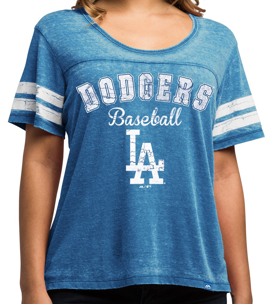 "Los Angeles Dodgers Women's Majestic MLB ""Loving The Game"" Dual Blend Shirt"