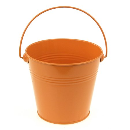 Metal Pail Buckets Party Favor, 5-inch, Orange - Bucket Pail