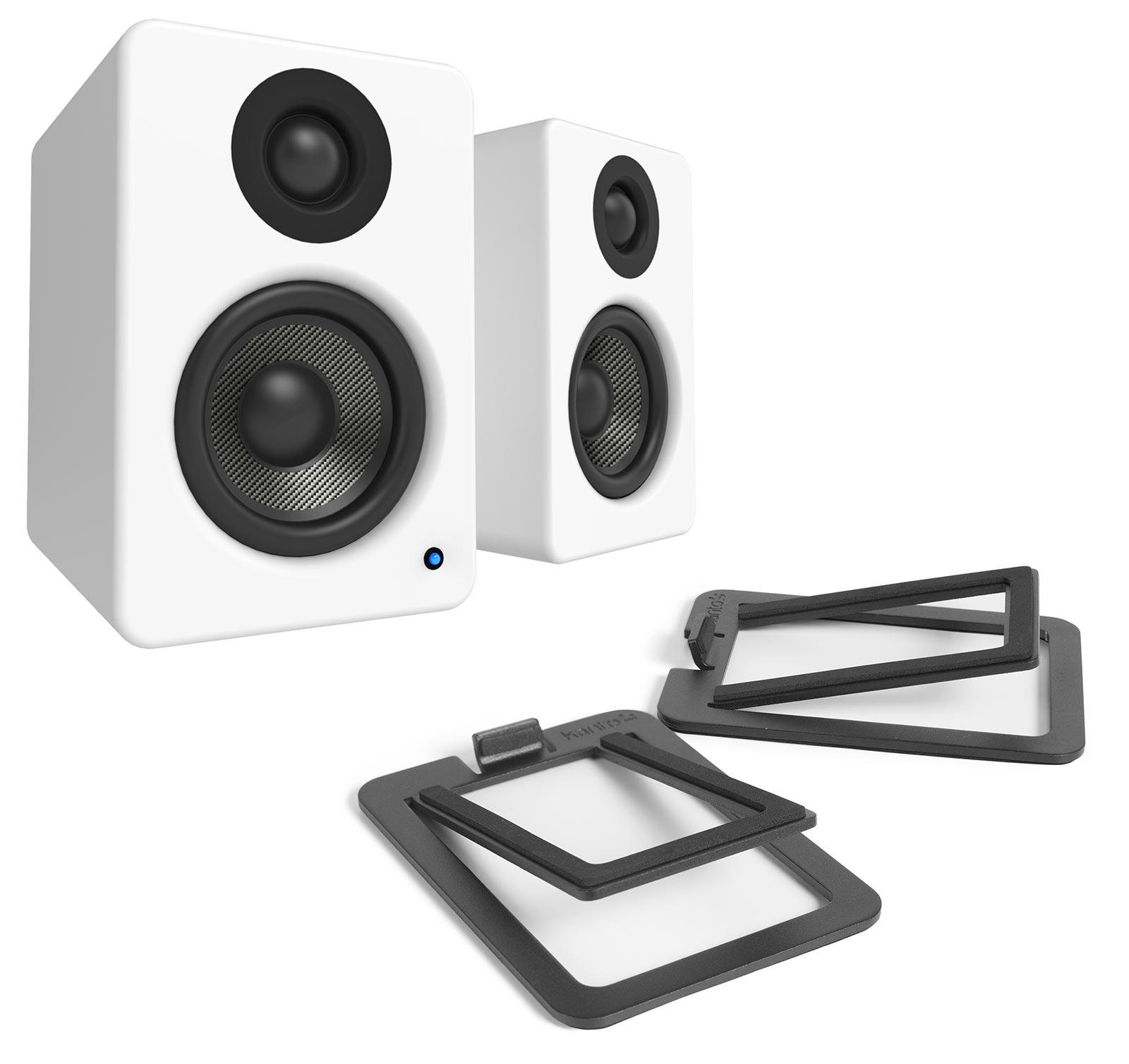 Kanto YU2 Matte White Powered Speakers with S2 Black Desktop Stand Kit