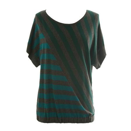 August Silk Women's Heather Grey Diagonal Stripe Short Sleeve Sweater