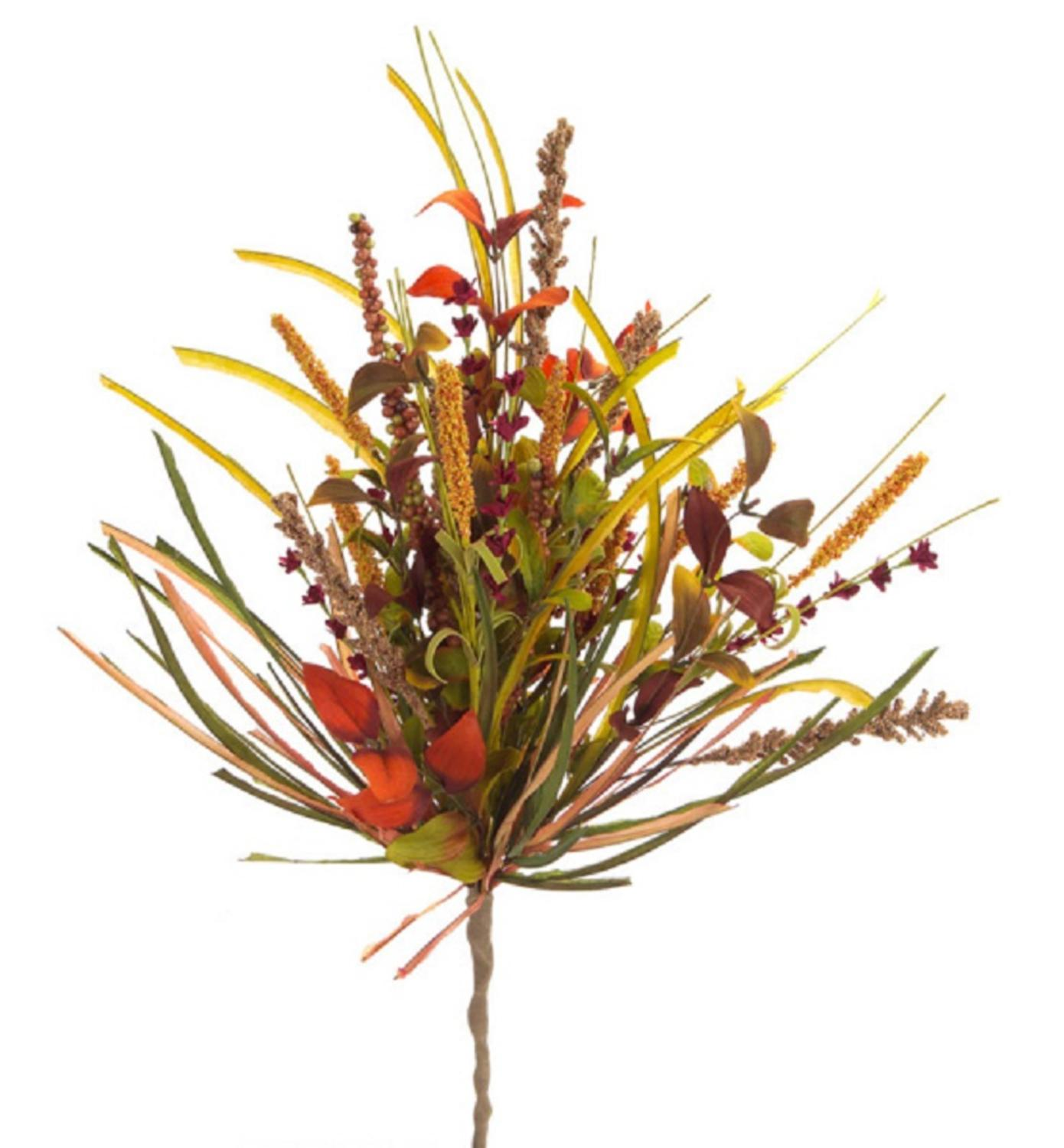 Pack of 6 Orange, Green and Red Autumnal Harvest with Berries Artificial Sprays 21""