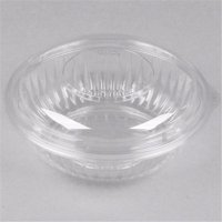 CPC 40ROS Disposable 40 oz Clear Plastic Salad Bowl with Lid, Case of 100