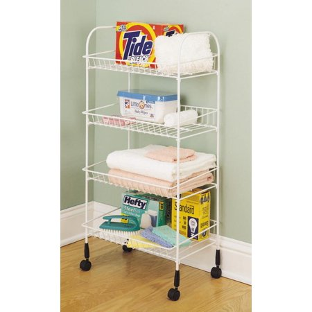 Closetmaid 1611 Rolling Cart, 34-5/8 in H x 16-3/4 in W x 12-3/8 in D, Steel, White
