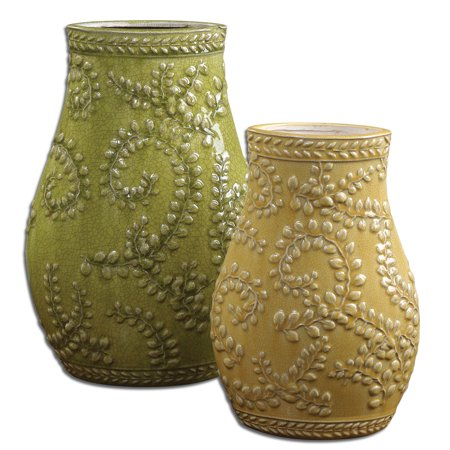 Uttermost Trailing Leaves Ceramic Vases Iin Pale Yellow Set Of 2