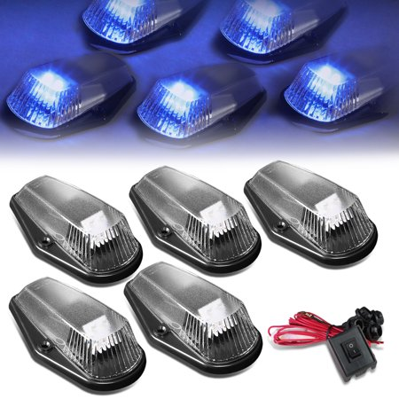 For 1980 to 1996 Ford F150 -F450 5 X LED Cab Roof Top Lights + Wiring Harness + Switch (Black Housing Blue LED) 92 93 94
