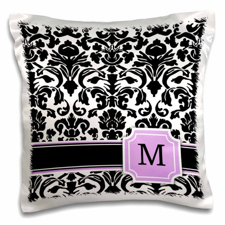 3dRose Personal initial M monogrammed pink black and white damask pattern girly stylish personalized letter, Pillow Case, 16 by 16-inch