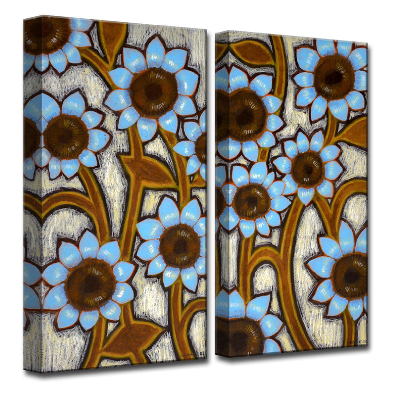 Ready2HangArt Blue Sunflowers Canvas Wall Art - Set of 2
