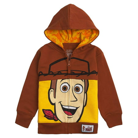 - Toy Story Disney Big Face Zip-Up Hoodies -Buzz Lightyear, Woody - Boys (Woody Brown, 2T)