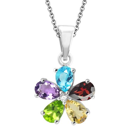 Sterling Silver with Natural Multi Gemstone Flower Pendant with 18 Inch - Multi Gemstone Butterfly Pendant