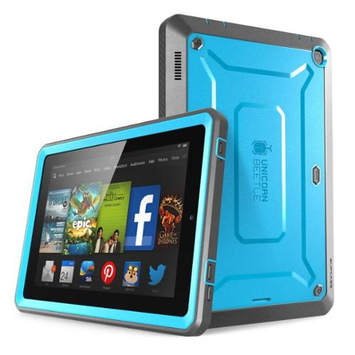 SUPCASE - Unicorn Beetle PRO Series Full-body Rugged Hybrid Protective Case with Built-in Screen Protector for Amazon Kindle Fire HD7 - Blue Black