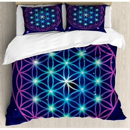 Mandala King Size Duvet Cover Set, Flower of Life Design on Dark Toned Background with Ombre Effect, Decorative 3 Piece Bedding Set with 2 Pillow Shams, Indigo Pale Blue and Violet, by Ambesonne