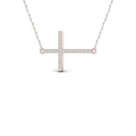 - 1/20Ct TDW Diamond 10K Rose Gold Sideways Cross Necklace