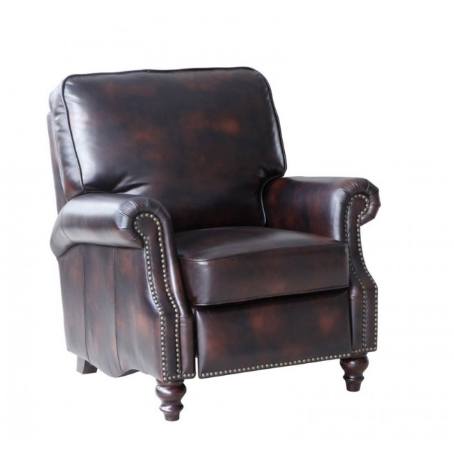 Lazzaro Scardale Leather Arm Recliner in Buckeye