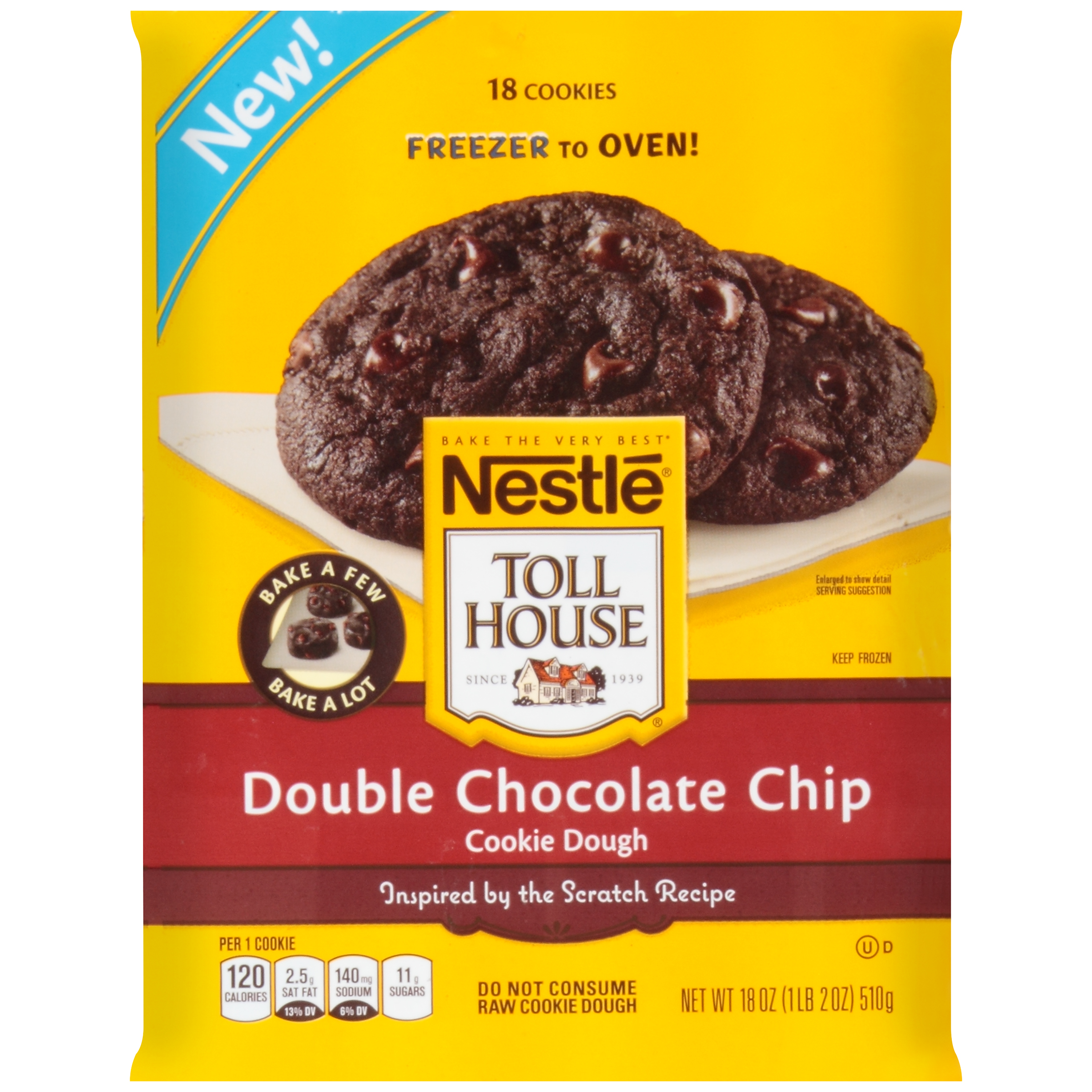 Nestle TOLL HOUSE Frozen Double Chocolate Chip Cookie ... Double Chocolate Chip Cookie Dough