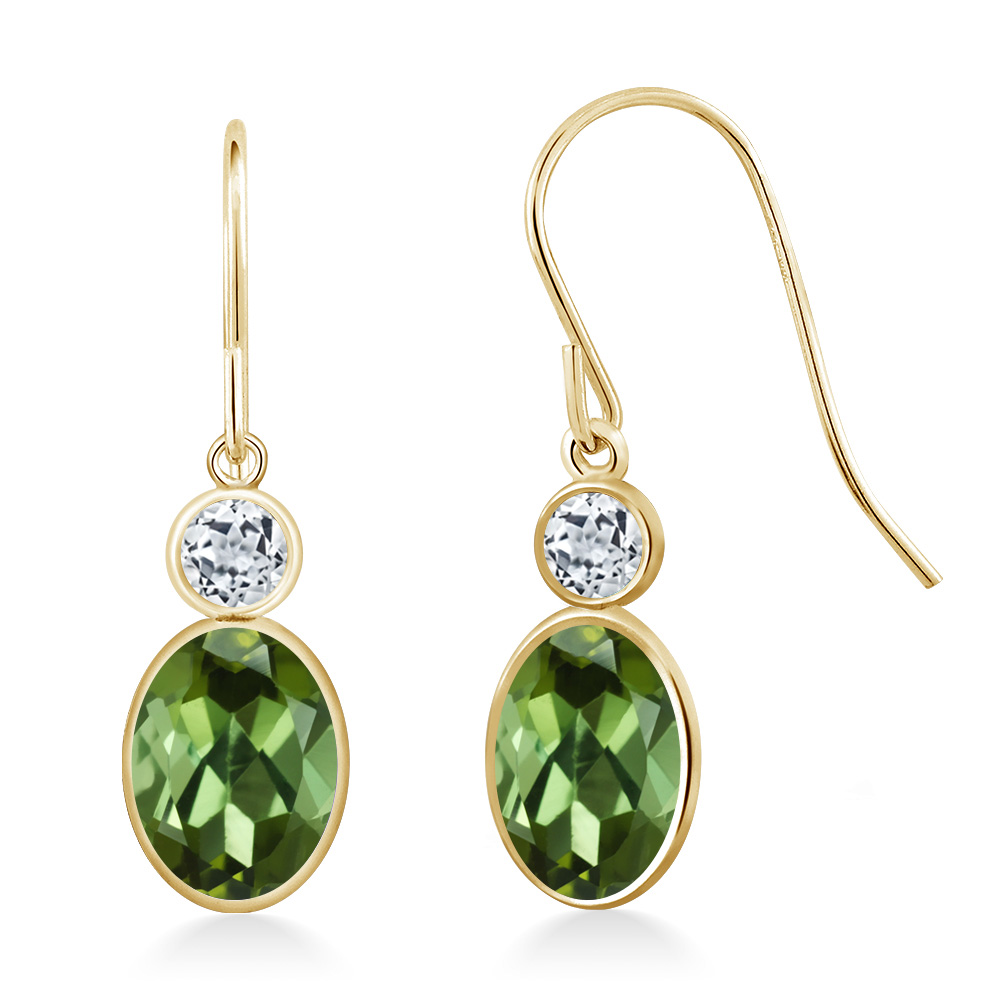 1.98 Ct Oval Green Tourmaline White Topaz 14K Yellow Gold Earrings by