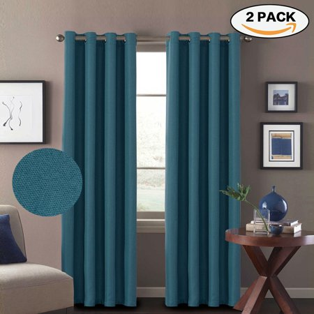 H Versailtex 2 Panels Primitive Linen Look Room Darkening Thermal Insulated Living Curtains D Antique Grommet 52 By 96 Inch Teal Blue