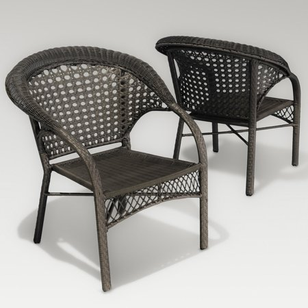 Maria Dark Grey Wicker Fan Back Outdoor Club Chair - Set of