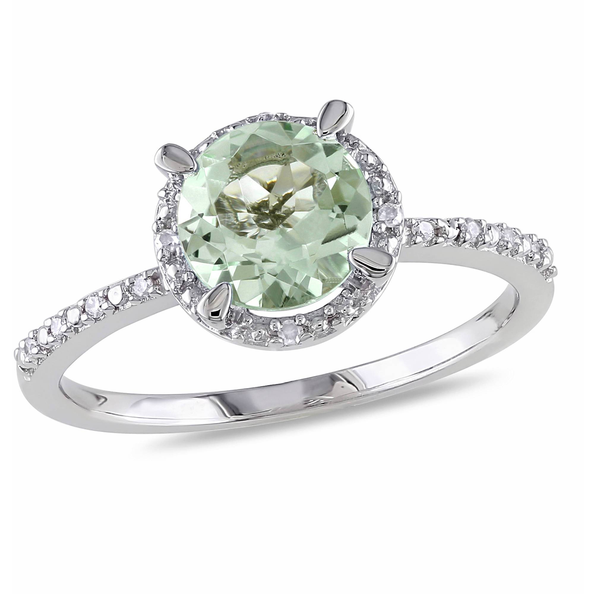 1-1/6 Carat T.G.W. Green Amethyst and Diamond Accent Sterling Silver Halo Ring
