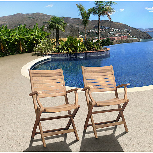 Amazonia Turnberry Teak Wood Outdoor Folding Armchairs, Set of 2, Light Brown