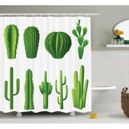 Cactus Shower Curtain Print Cartoon Style Image Hot Mexican Desert Plant Types With Spikes
