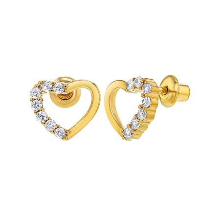 a240a5db6 In Season Jewelry - 18k Gold Plated Clear Crystal Heart Children Baby Girl  Screw Backs Earrings - Walmart.com