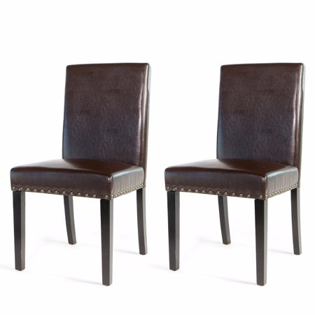 XtremepowerUS 2PC Elegant Stylish Nail Head Leather Dining Chair, Brown ()