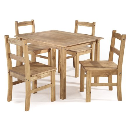 York 5-Piece Solid Wood Dining Set with 1 Table and 4 Chairs in