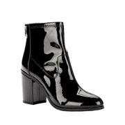 Melrose Ave Vegan Patent Leather Back Zip Block Heel Bootie (Women's)