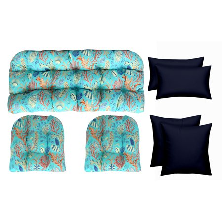 RSH Decor Decorator's Choice Designer Sets - Indoor / Outdoor Decorative Blue Ocean Life Coral Reef Print Fabric and Solid Navy Throw Pillows- Choose Size-And Choose Color