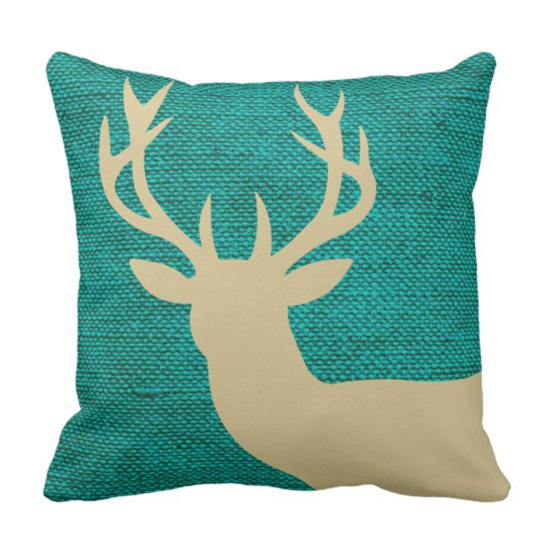 BPBOP Teal Point Rustic Deer Head Silhouette on Burlap Beige Stag Pillowcase Cushion Cover 18x18 inches