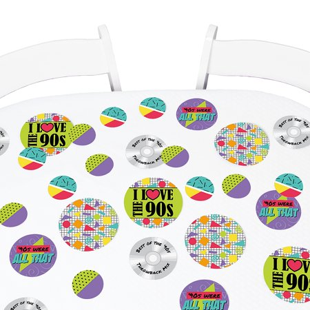 90's Throwback - 1990s Party Giant Circle Confetti - Party Decorations - Large Confetti 27 Count (Giant Confetti Shooter)