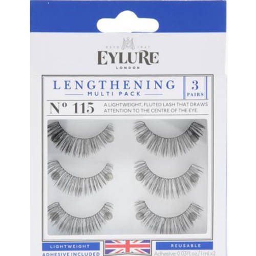 Eylure Lengthening Lashes, 115, Black, 3 Ct