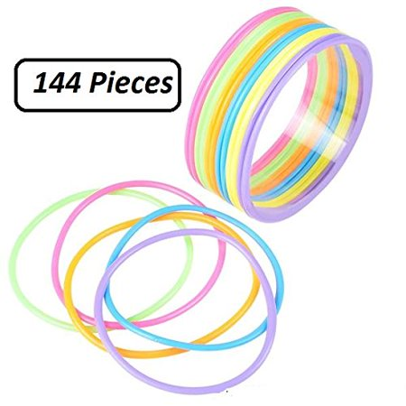 Plastic Bracelets - Assorted Colors - 144 Pieces- 2.75