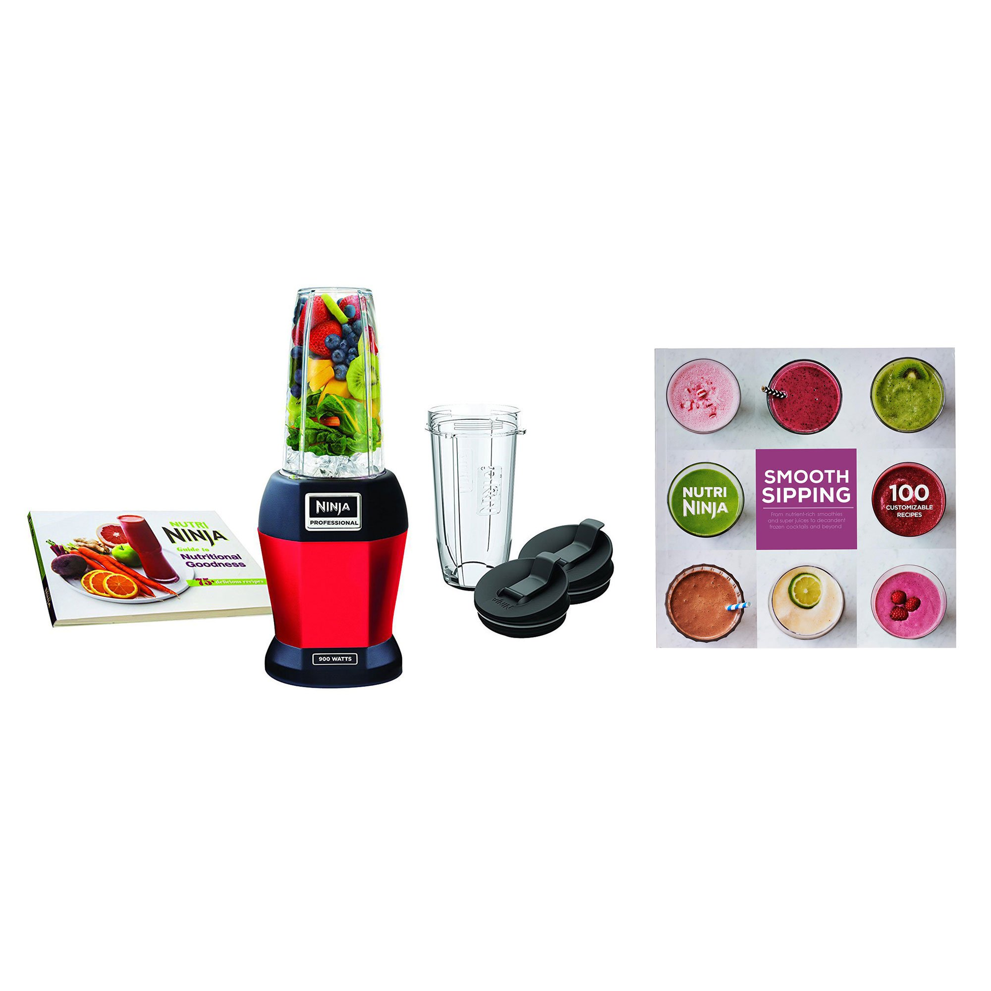 Nutri Ninja BL456 900W Professional Smoothie Blender w/ Cups, Red & 100 Recipes