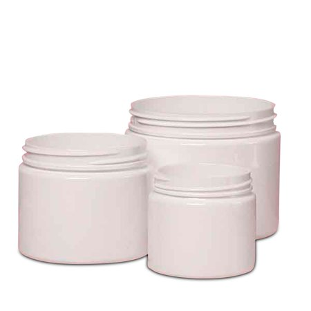 White Short Screw Top Pet Jar 4 OZ