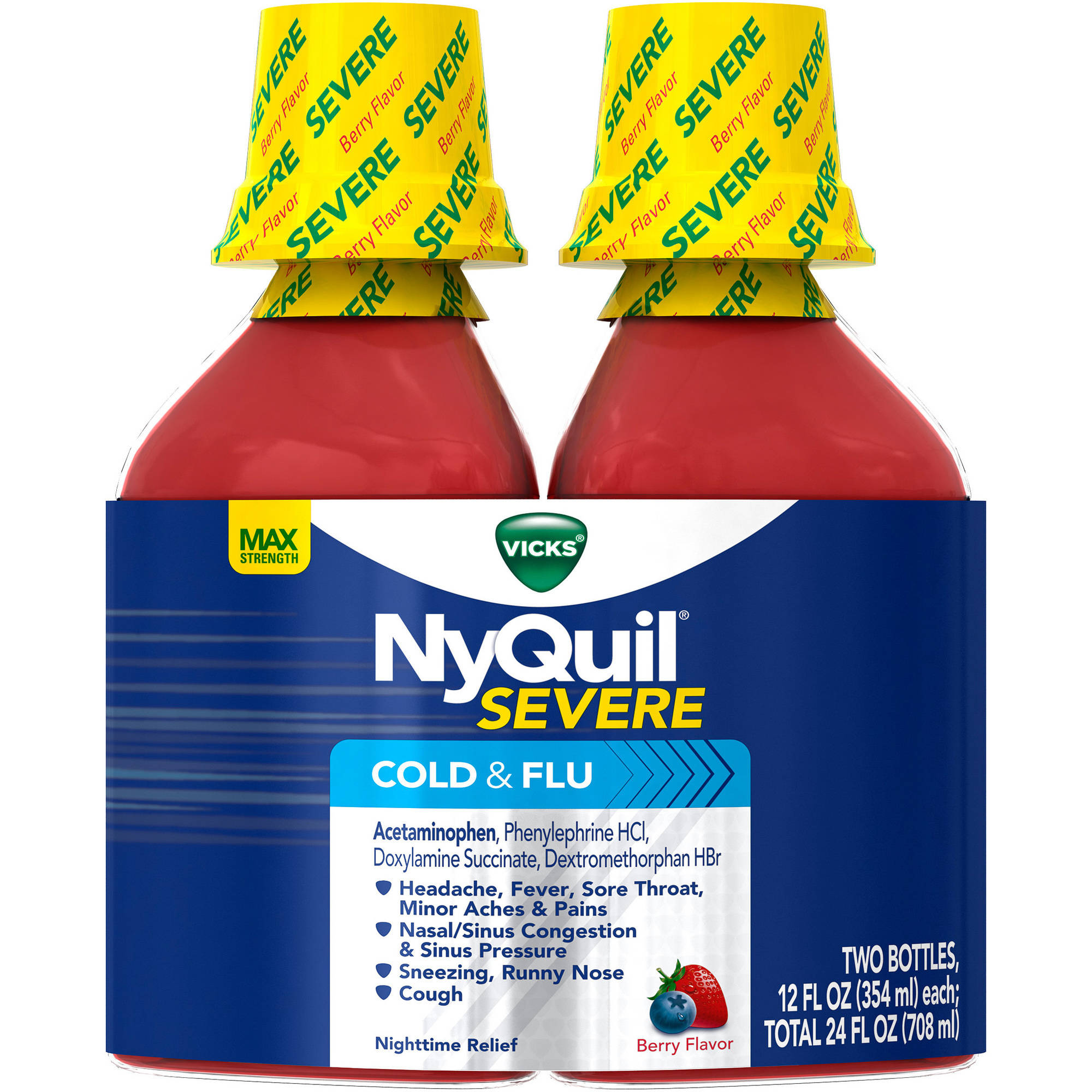 Vicks NyQuil Severe Cold & Flu Relief Berry Flavored Liquid Cold Medicine, 12 fl oz, (Pack of 2)